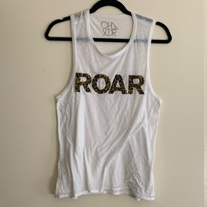Chaser White Tank Top with ROAR in Leopard Print